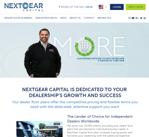 Image of NextGear Capital's new website where dealers can learn more about how to efficiently use their floor plan line of credit